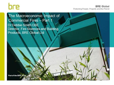 Part of the BRE Trust BRE Global Protecting People, Property and the Planet The Macroeconomic Impact of Commercial Fires – Part 1 Dr Debbie Smith OBE Director,