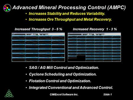 CIMExcel Software Inc. Slide 1 Advanced Mineral Processing Control (AMPC) Increases Stability and Reduces Variability. Increases Ore Throughput and Metal.