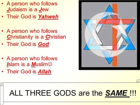 ALL THREE GODS are the SAME !!!