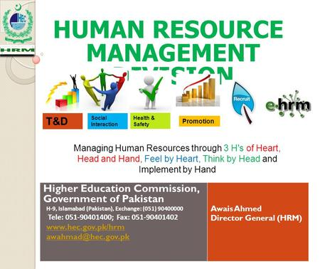 HUMAN RESOURCE MANAGEMENT DIVISION Higher Education Commission, Government of Pakistan H-9, Islamabad (Pakistan), Exchange: (051) 90400000 Tele: 051-90401400;