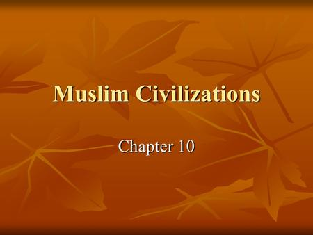 Muslim Civilizations Chapter 10.