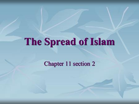 The Spread of Islam Chapter 11 section 2.
