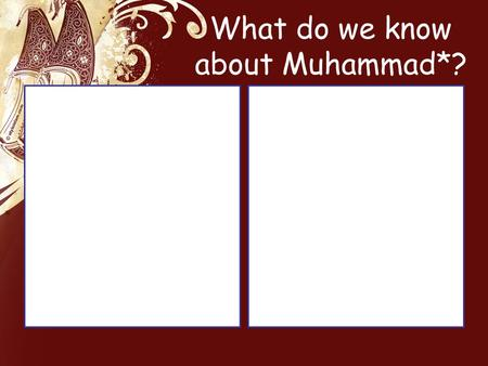 What do we know about Muhammad*?