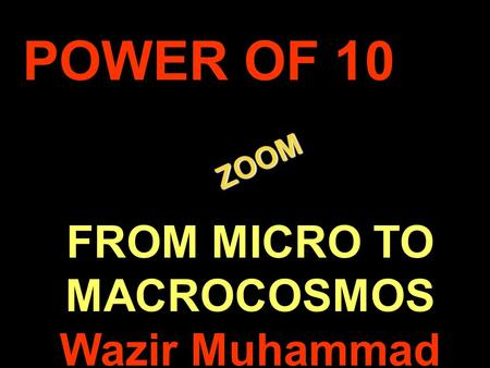 . ZOOM ZOOM POWER OF 10 FROM MICRO TO MACROCOSMOS Wazir Muhammad.