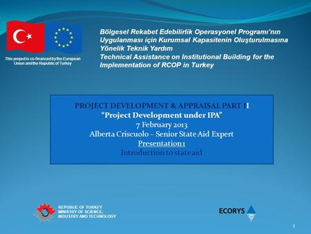 This project is co-financed by the European Union and the Republic of Turkey REPUBLIC OF TURKEY MINISTRY OF SCIENCE, INDUSTRY AND TECHNOLOGY 1 Bölgesel.