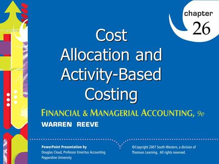 1 Click to edit Master title style 1 1 1 Cost Allocation and Activity-Based Costing 26.