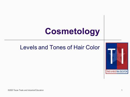 ©2003 Texas Trade and Industrial Education1 Cosmetology Levels and Tones of Hair Color.