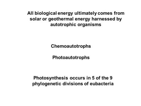All biological energy ultimately comes from solar or geothermal energy harnessed by autotrophic organisms Chemoautotrophs Photoautotrophs Photosynthesis.