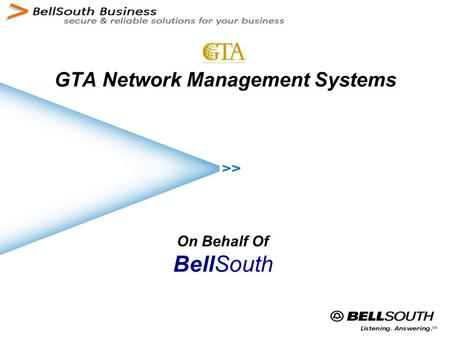 GTA Network Management Systems On Behalf Of BellSouth.