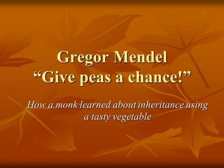 "Gregor Mendel ""Give peas a chance!"" How a monk learned about inheritance using a tasty vegetable."