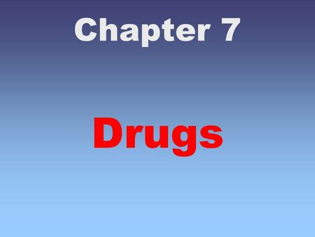 Chapter 7 Drugs. Chapter 7 - Drugs (and Crime) A drug is a natural or synthetic substance designed to affect the subject psychologically or physiologically.