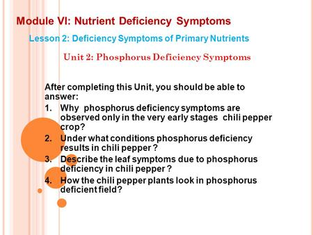 Module VI: Nutrient Deficiency Symptoms Lesson 2: Deficiency Symptoms of Primary Nutrients Unit 2: Phosphorus Deficiency Symptoms After completing this.