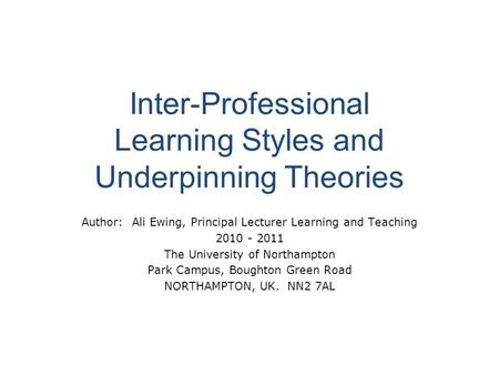 interprofessional learning essay Essay 2: student learning outcomes  the questions related to fostering  interprofessional education and exploring ways to  teaching and learning  center.