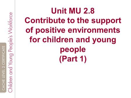 Unit MU 2.8 Contribute to the support of positive environments for children and young people (Part 1)