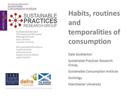 Habits, routines and temporalities of consumption Dale Southerton Sustainable Practices Research Group, Sustainable Consumption Institute Sociology Manchester.