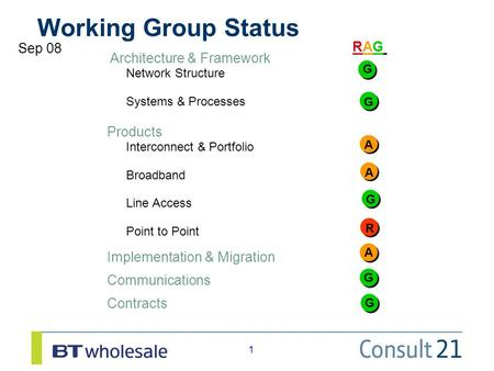 1 1 Working Group Status RAGRAG Sep 08 Architecture & Framework Network Structure Systems & Processes Products Interconnect & Portfolio Broadband Line.
