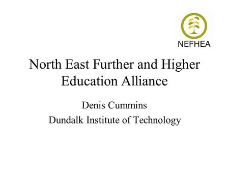 North East Further and Higher Education Alliance Denis Cummins Dundalk Institute of Technology.