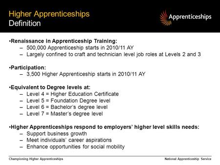 Championing Higher Apprenticeships Higher Apprenticeships Definition National Apprenticeship Service Renaissance in Apprenticeship Training: –500,000 Apprenticeship.