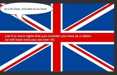 Copyright © Politics Teacher Ltd 2010/reviewed 2013 As a UK Citizen, what rights do you have? List 5 or more rights that you consider you have as a citizen.