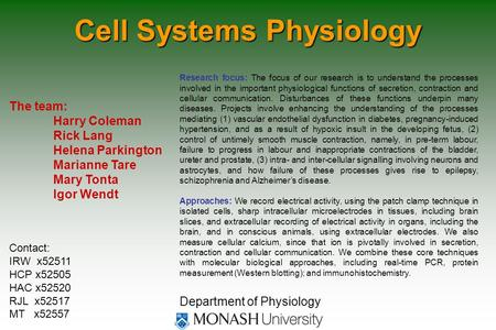 Cell Systems Physiology The team: Harry Coleman Rick Lang Helena Parkington Marianne Tare Mary Tonta Igor Wendt Department of Physiology Research focus: