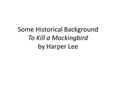 to kill a mockingbird historical context pdf