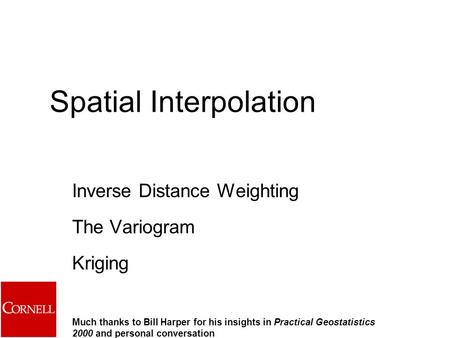 Spatial Interpolation
