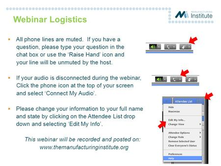 Webinar Logistics  All phone lines are muted. If you have a question, please type your question in the chat box or use the 'Raise Hand' icon and your.