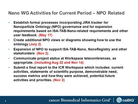 1 Nano WG Activities for Current Period – NPO Related Establish formal processes incorporating JIRA tracker for Nanoparticle Ontology (NPO) governance.