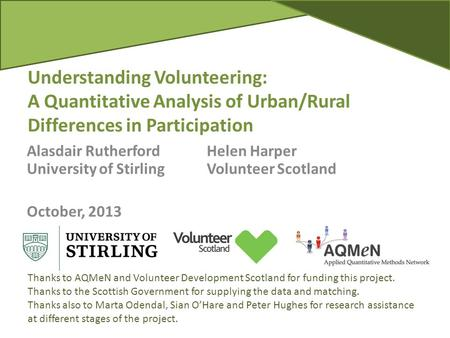 Understanding Volunteering: A Quantitative Analysis of Urban/Rural Differences in Participation Alasdair RutherfordHelen Harper University of StirlingVolunteer.