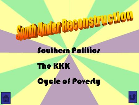 Southern Politics The KKK Cycle of Poverty. New Forces in Southern Politics White Southern Republicans –Some white businessmen were concerned only with.