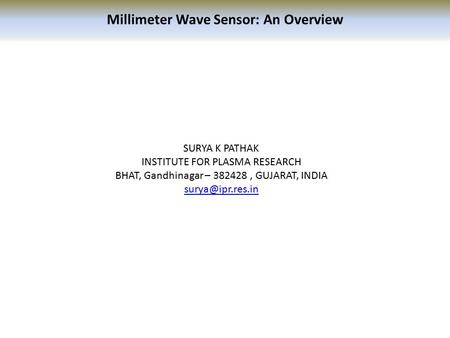 Millimeter Wave Sensor: An Overview