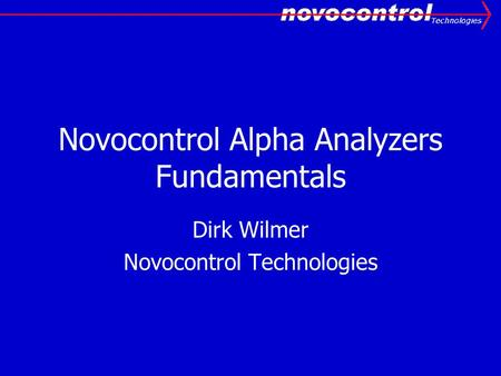 Novocontrol Alpha Analyzers Fundamentals