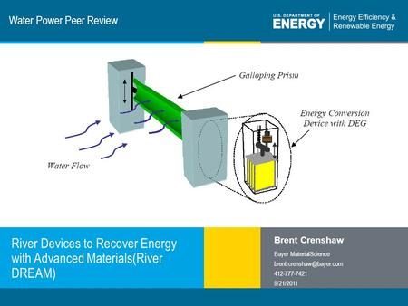 1 | Program Name or Ancillary Texteere.energy.gov Water Power Peer Review River Devices to Recover Energy with Advanced Materials(River DREAM) Brent Crenshaw.