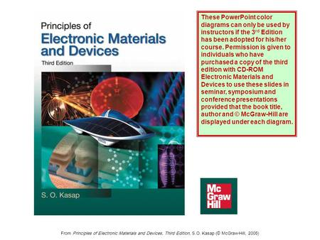 From Principles of Electronic Materials and Devices, Third Edition, S.O. Kasap (© McGraw-Hill, 2005) These PowerPoint color diagrams can only be used by.