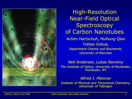 CEAC06, Zürich 11.07.2006Achim Hartschuh, Nano-Optics München1 High-Resolution Near-Field Optical Spectroscopy of Carbon Nanotubes Achim Hartschuh, Huihong.