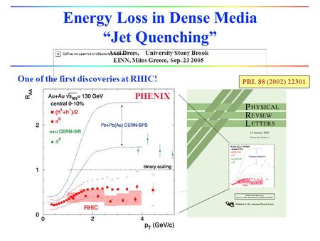 "Axel Drees, University Stony Brook EINN, Milos Greece, Sep. 23 2005 Energy Loss in Dense Media ""Jet Quenching"" PHENIX PRL 88 (2002) 22301 One of the first."
