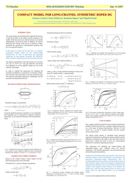 COMPACT MODEL FOR LONG-CHANNEL SYMMETRIC DOPED DG COMPACT MODEL FOR LONG-CHANNEL SYMMETRIC DOPED DG Antonio Cerdeira 1, Oana Moldovan 2, Benjamín Iñiguez.