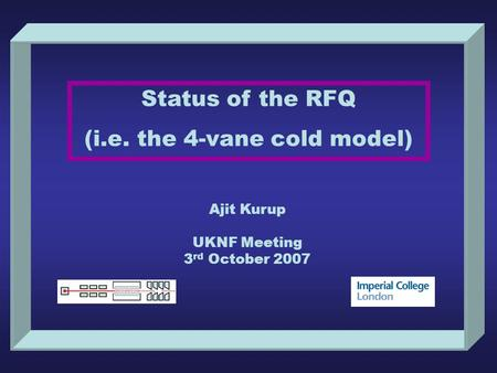 Status of the RFQ (i.e. the 4-vane cold model) Ajit Kurup UKNF Meeting 3 rd October 2007.