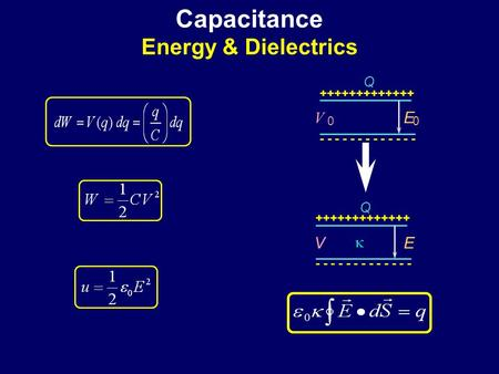 Capacitance Energy & Dielectrics
