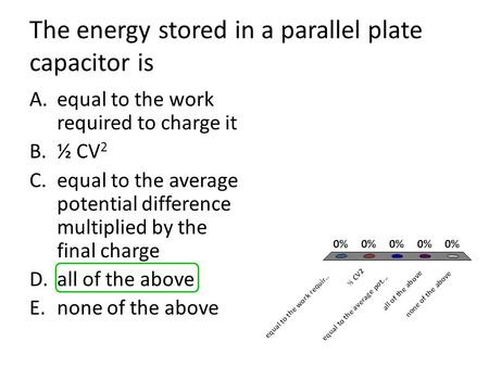 The energy stored in a parallel plate capacitor is A.equal to the work required to charge it B.½ CV 2 C.equal to the average potential difference multiplied.