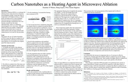 Carbon Nanotubes as a Heating Agent in Microwave Ablation Introduction: Microwave Ablation (MWA) is a technique for ablating tumors using microwave frequency.