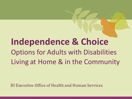 Independence & Choice Options for Adults with Disabilities Living at Home & in the Community RI Executive Office of Health and Human Services.