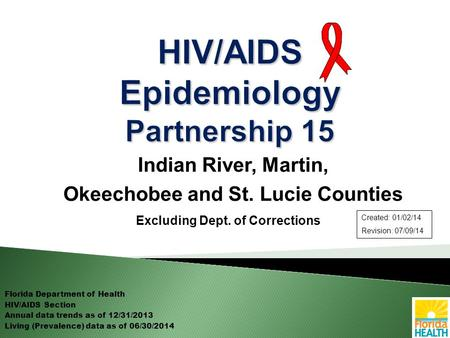 Indian River, Martin, Okeechobee and St. Lucie Counties Excluding Dept. of Corrections Florida Department of Health HIV/AIDS Section Annual data trends.