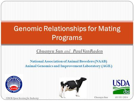 Chuanyu Sun and Paul VanRaden National Association of Animal Breeders (NAAB) Animal Genomics and Improvement Laboratory (AGIL) Genomic Relationships for.
