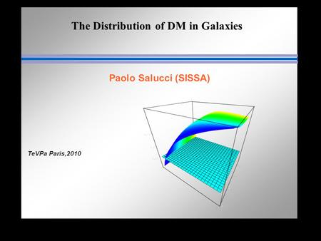 The Distribution of DM in Galaxies Paolo Salucci (SISSA) TeVPa Paris,2010.