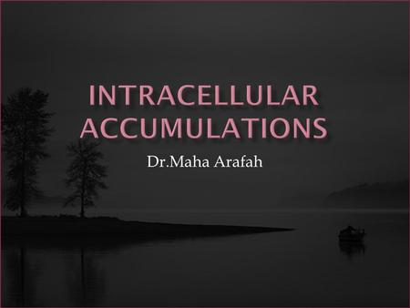 Dr.Maha Arafah. To study:  Overview of intracellular accumulations  Accumulation of Lipids  Accumulation of Cholesterol  Accumulation of Proteins.