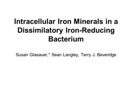 Intracellular Iron Minerals in a Dissimilatory Iron-Reducing Bacterium Susan Glasauer,* Sean Langley, Terry J. Beveridge.