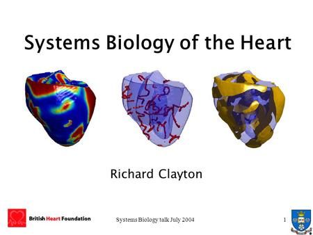 Systems Biology talk July 20041 Systems Biology of the Heart Richard Clayton.