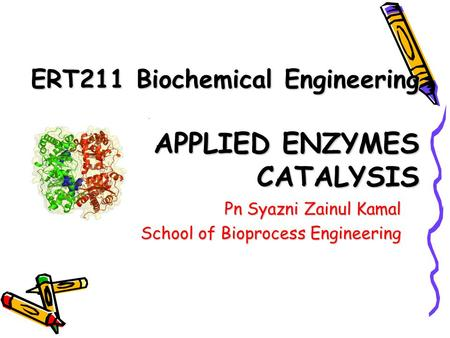 ERT211 Biochemical Engineering APPLIED ENZYMES CATALYSIS Pn Syazni Zainul Kamal School of Bioprocess Engineering.