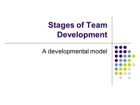 Stages of Team Development A developmental model.